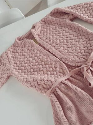 Sweter z Falbanką Pudrowy Róż