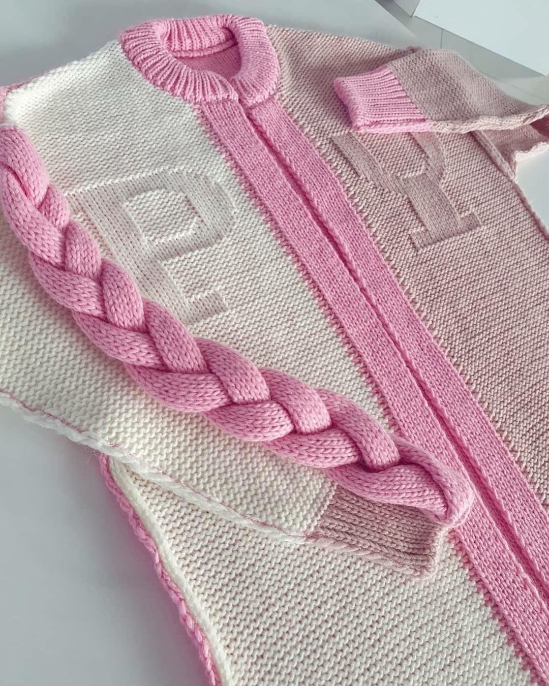 Кардиган с косичкой пудрово розовый