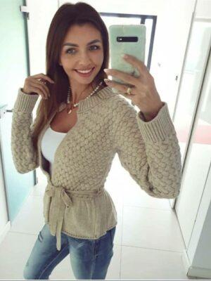 Sweter z Falbanką Beż